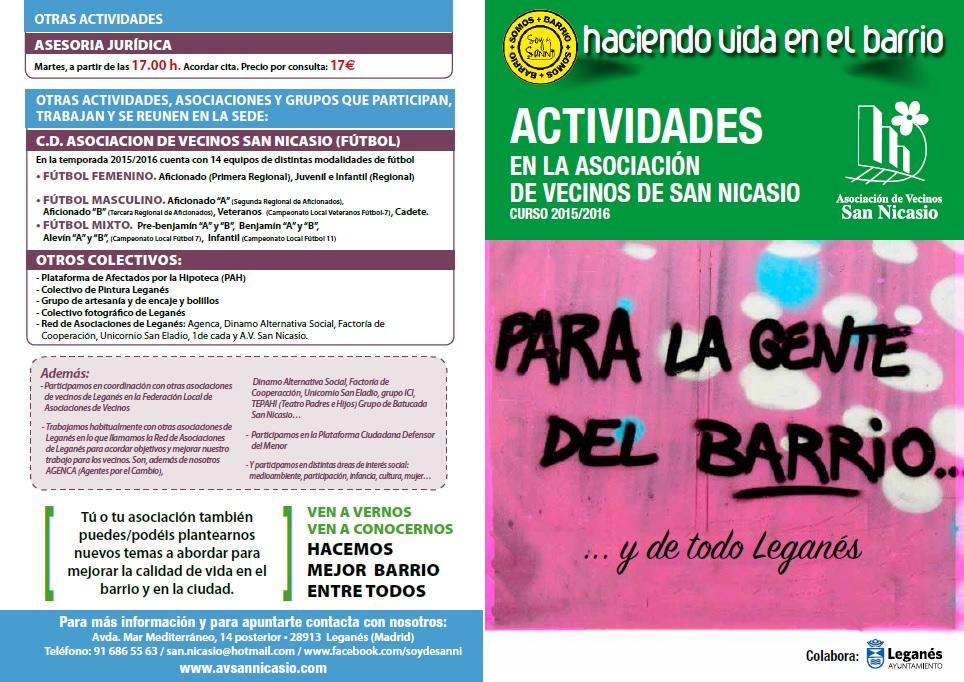ACTIVIDADES ESTABLES 2015-2016 ASOCIACION VECINOS SAN NICASIO (1)