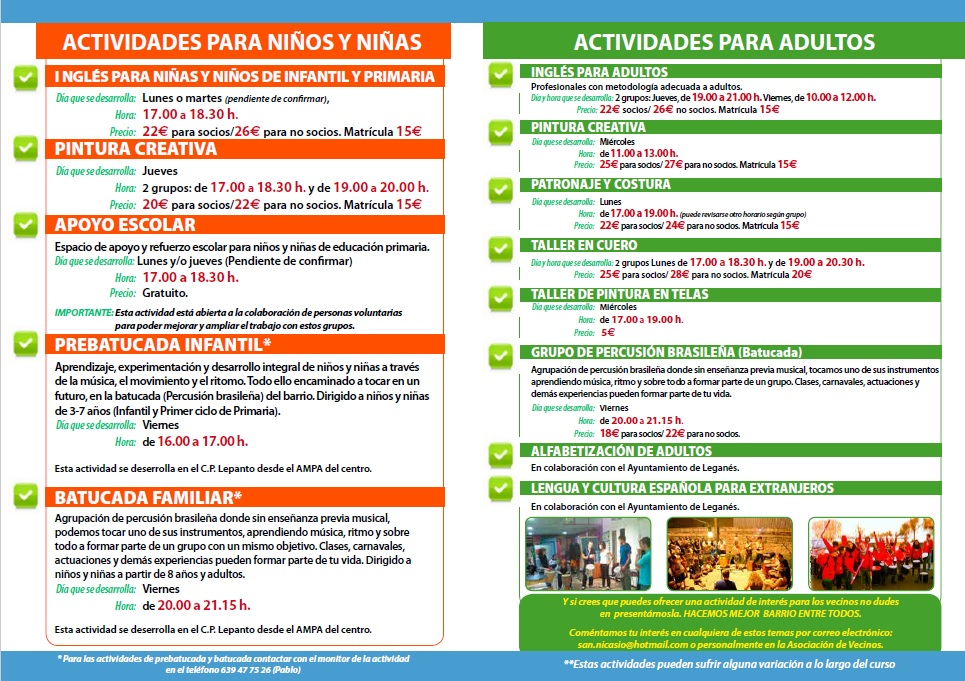 ACTIVIDADES ESTABLES 2015-2016 ASOCIACION VECINOS SAN NICASIO (2)