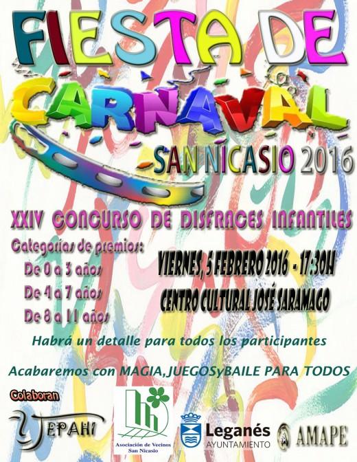 Fiesta de carnaval San Nicasio 2016 XXIV concurso de disfraces infantil Asociacion de Vecinos San Nicasio