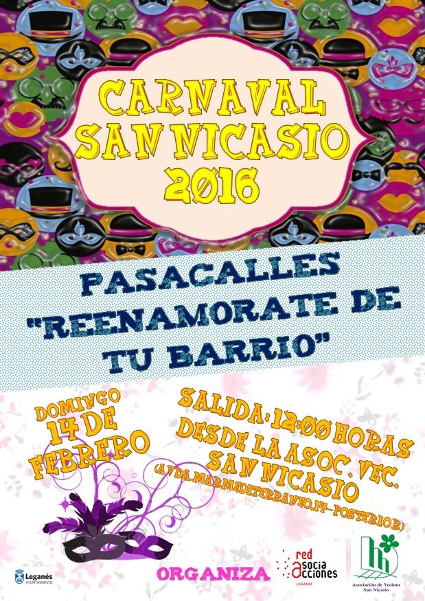 Pasacalles de carnaval 2016 REENAMORATE DE TU BARRIO AV San Nicasio Red de Asociacciones
