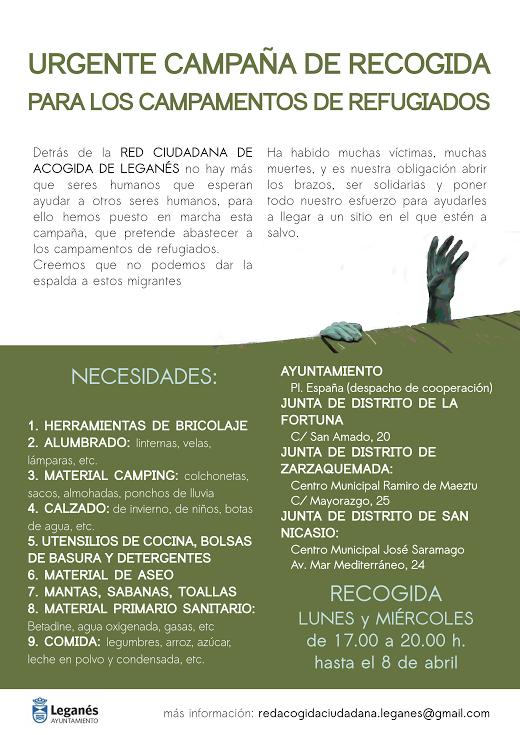 RECOGIDA URGENTE DE MATERIAL PARA LOS CAMPAMENTOS DE REFUGIADOS RED CIUDADANA DE ACOGIDA DE LEGANÉS ASOCIACIÓN DE VECINOS SAN NICASIO