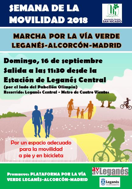 Semana de la movilidad 2018 MARCHA POR LA VÍA VERDE LEGANÉS ALCORCÓN MADRID AV SAN NICASIO FEDERACIÓN DE ASOCIACIONES LEGANÉS