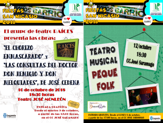 Teatro en las FIESTAS DE SAN NICASIO 2018 ASOCIACIÓN VECINAL SAN NICASIO GRUPO RAÍCES ASOCIACIÓN DESPERTARTE