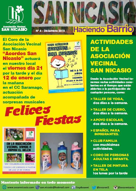 Boletín Haciendo Barrio SN N4 Asociación Vecinal San Nicasio